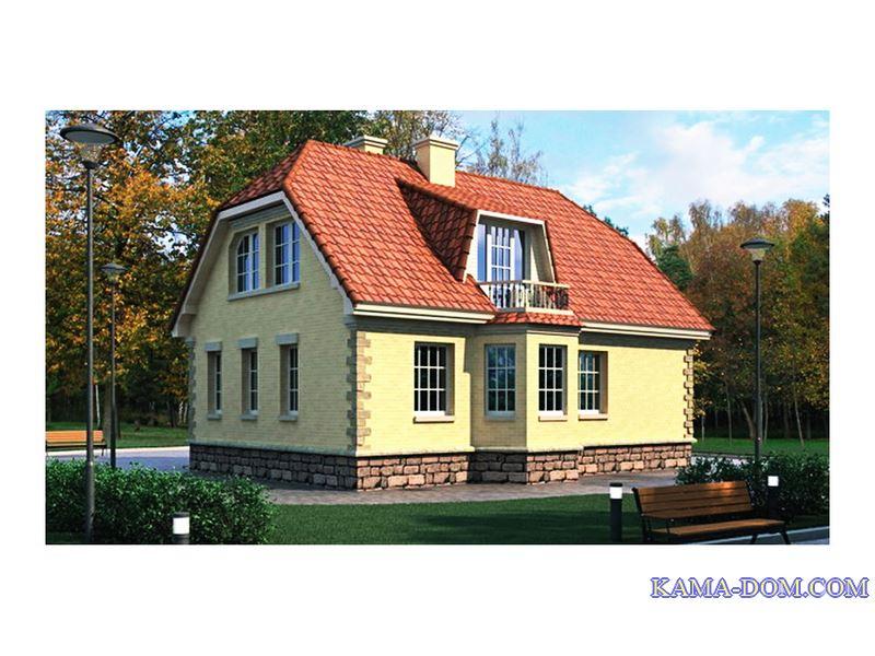 Дом из газобетона с мансардой и балконом в крыше.