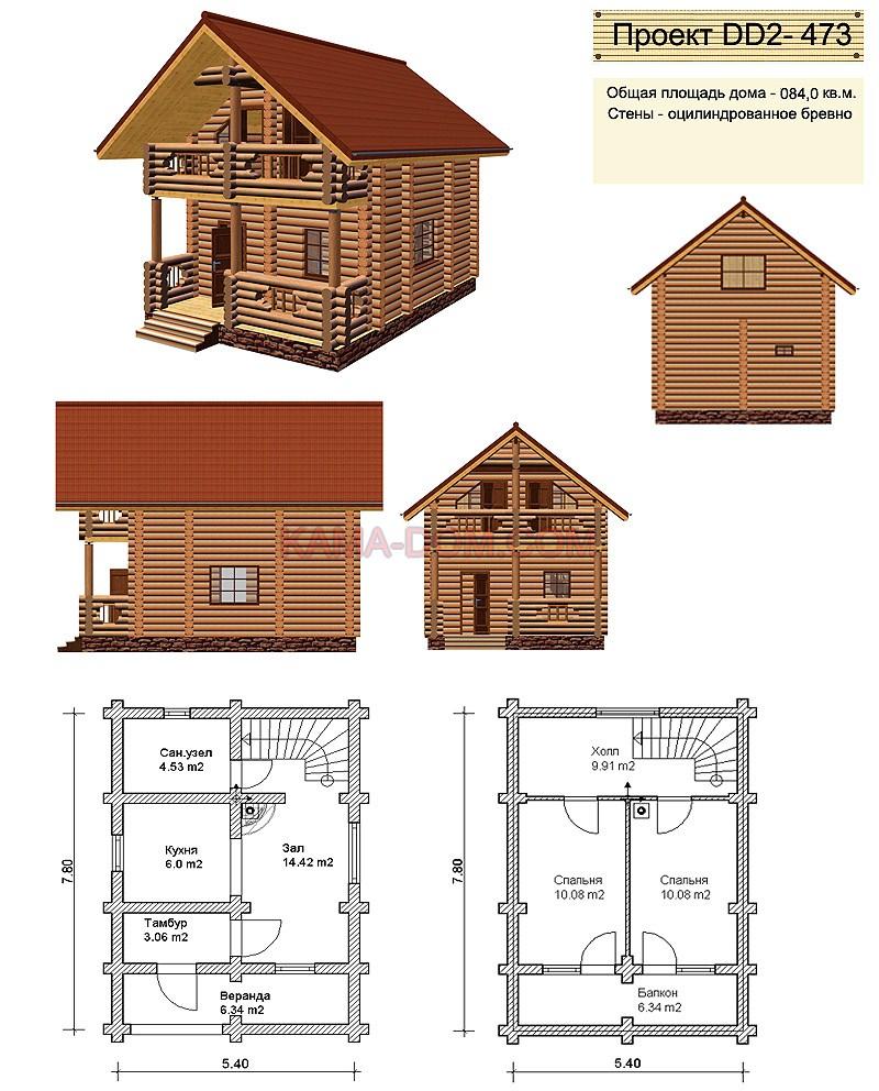 Чертеж деревянного дома